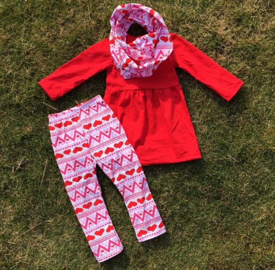 Girls Valentines Red Dress Heart Leggings Scarf Outfit Set Love 2T 3T 4 5 6 7