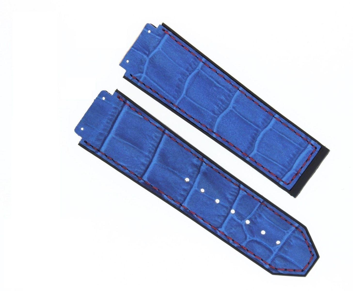 25MM ALLIGATOR LEATHER BAND STRAP FOR HUBLOT CERAMIC FUSION BIG BANG BLUE #9H