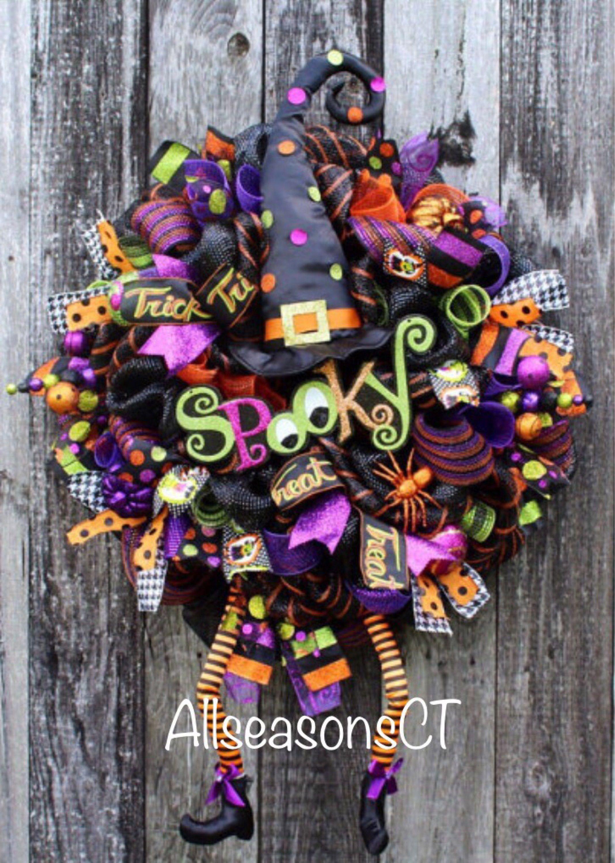 ms. spooky witch halloween deco mesh wreath, halloween mesh wreath