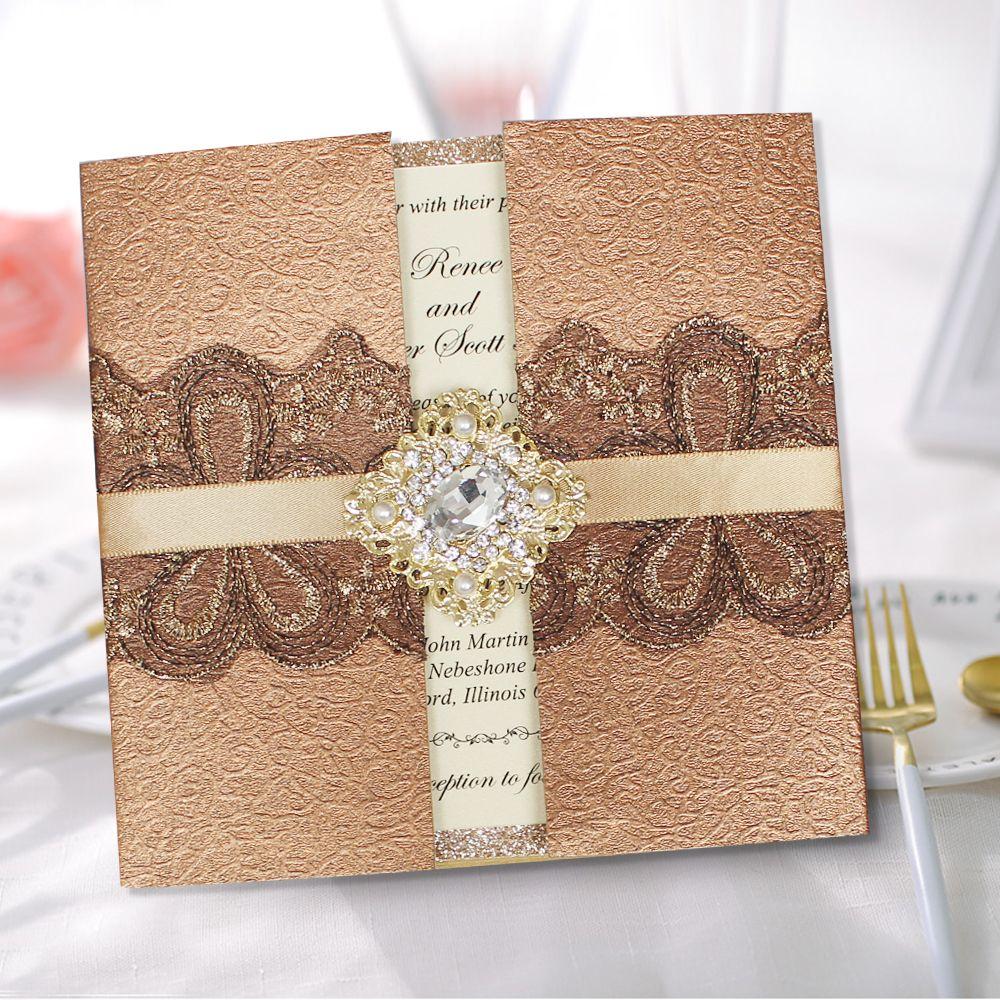 Luxury Wedding Invitation Unique Golden Invitations with Shiny Invite Cards  | Vintage wedding invitation cards, Unique wedding invitations, Wedding  cards