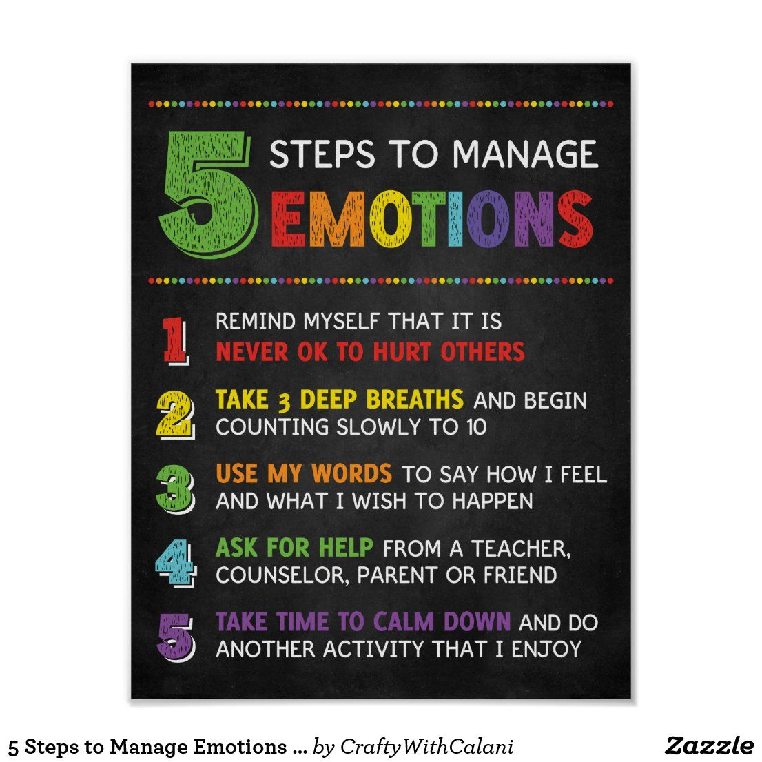 5 Steps to Manage Emotions Classroom Behavior Post