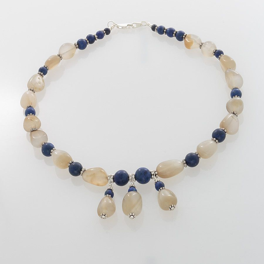 Blue Calcedony, Lapis & Silver Necklace
