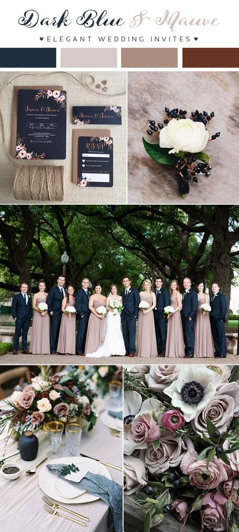 Dark Blue And Mauve Fall Winter Wedding Colors For 2018