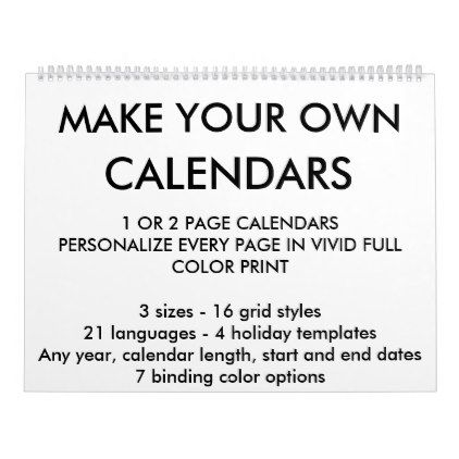Custom Personalized Calendar Blank Template - template gifts custom