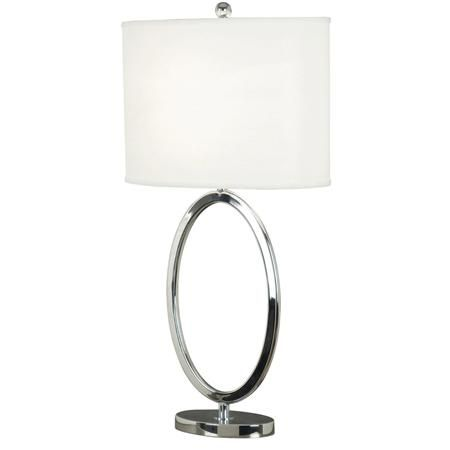 Silver Circle Table Lamp with white shade. 31\