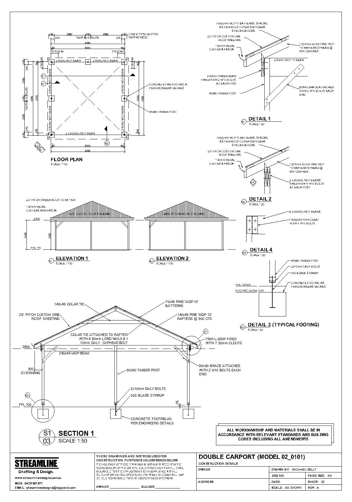Carport Construction Plans It Should Be At Least 12 Feet Wide And 20 Feet  Long For One Car Free Carport Plans With Step By Step Instructions Barn The  Actual ...