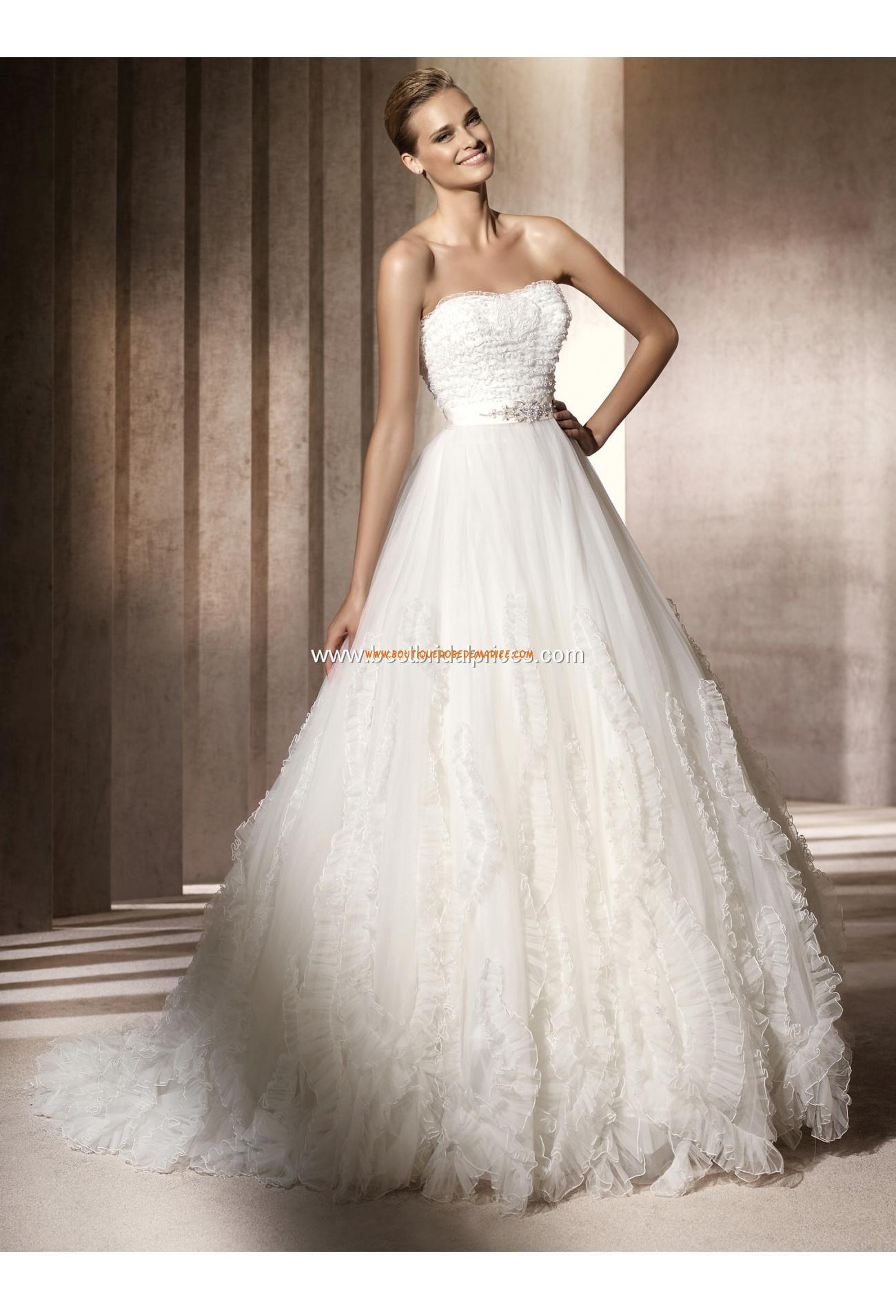 Robe de mariée princesse glamour tulle plissé