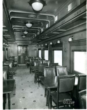 october 1934 builder 39 s photo showing the interior of a 1930s pullman dining car for the. Black Bedroom Furniture Sets. Home Design Ideas