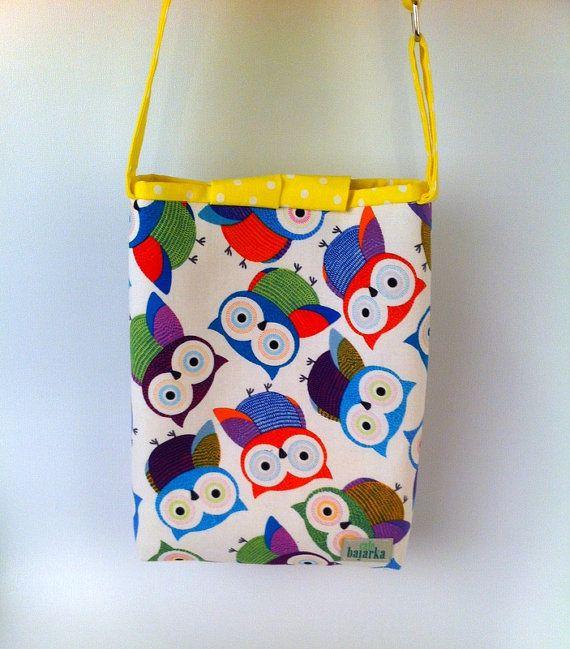 Handbag for Girls, Owl Tote, Small Cotton Fabric Purse, Cute Carryall Bag, fashionable crossbody