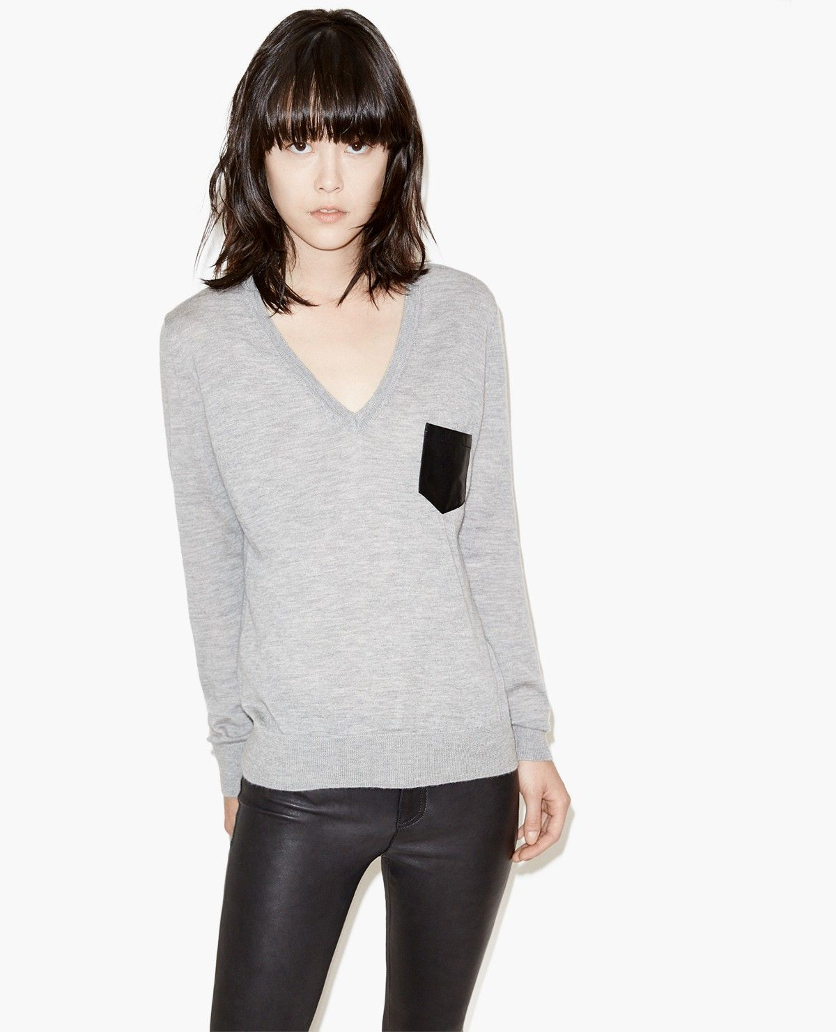 100% cashmere sweater with leather pocket - Knitwear - The Kooples ...