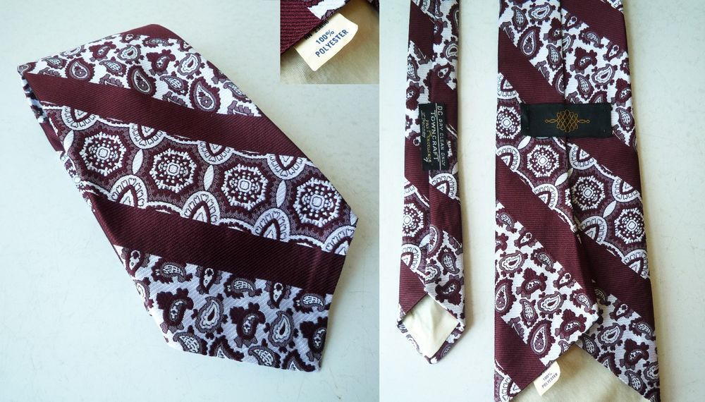 "Vintage 1970s 4"" WIDE UgLY Neck Tie 55"" Paisley Stripes 100% 70's Polyester #JCPenney #NeckTie #vintageWideTie #discoTie #valentinesDay #hipsterClothing #valentinesDayGift"