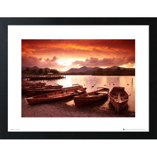 Photo of Postleitzahl Design gerahmte Poster Sunset Boote von Tom Mackie | Wayfair.de