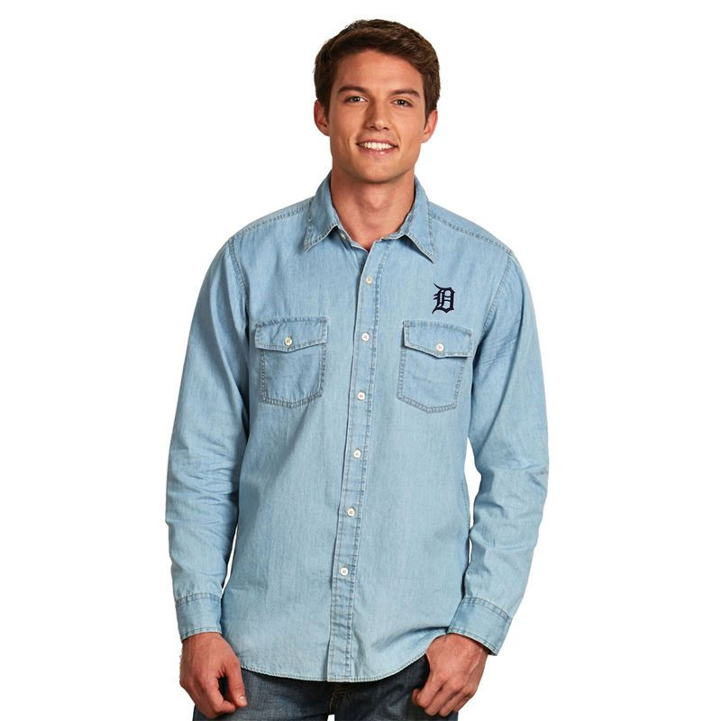 Detroit Tigers Antigua Chambray Button-Up Long Sleeve Shirt - Blue