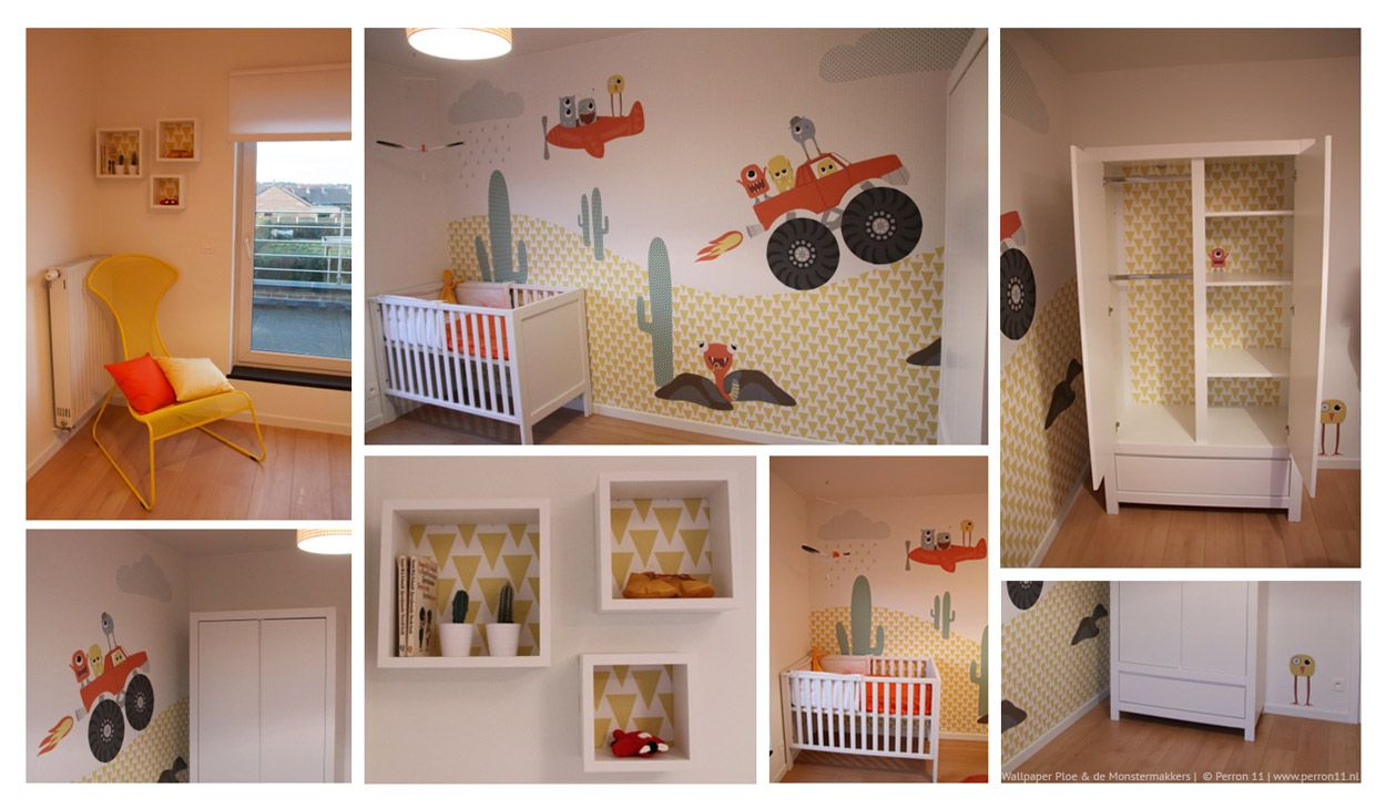 Kinderkamerinspiratie: een monsterkamer met monsterbehang en monster muurstickers van Perron 11