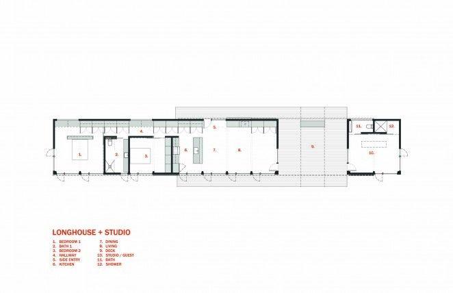 Longhouse Dogtrot Plus Studio   2 Bedroom + Studio Architect Plan Set