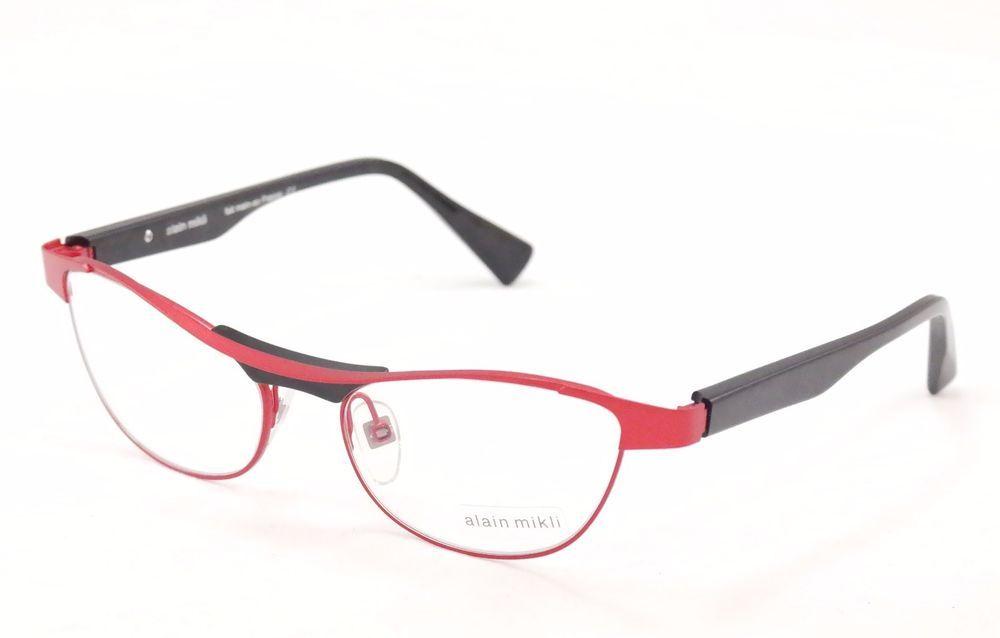 Alain Mikli Eyeglasses AL1220 MOB7 Red Black Metal Plastic France ...