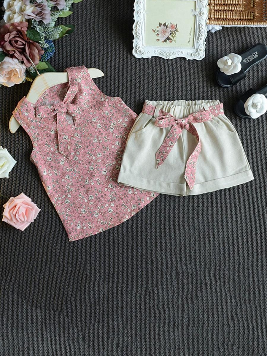 e43a10e3e151 Kids Floral Print Knot Front Top With Shorts -SheIn(Sheinside ...