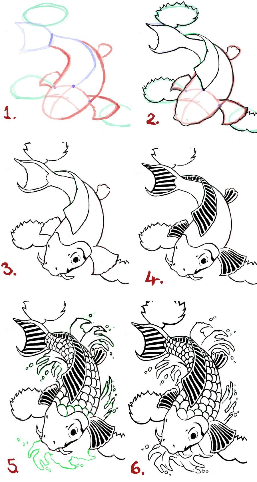 Uncategorized How To Draw A Koi Fish koi fish tattoo drawings drawing steps by wenwecollide how to draw on deviantart