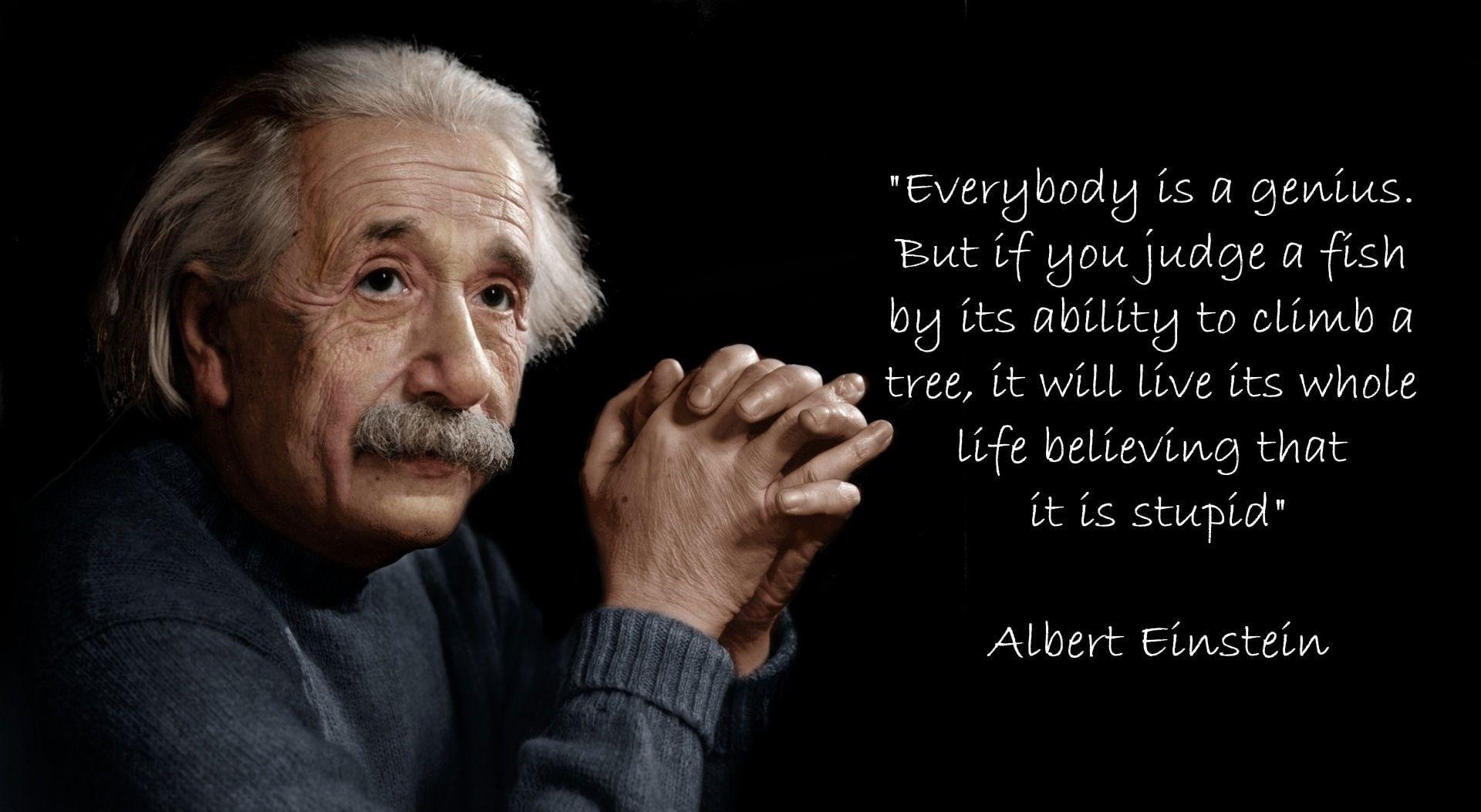 Albert Einstein Hd Wallpaper Albert Einstein With Quote Text Overlay Artistic Typography 1080p Wallpaper Hdwallp Einstein Einstein Quotes Albert Einstein