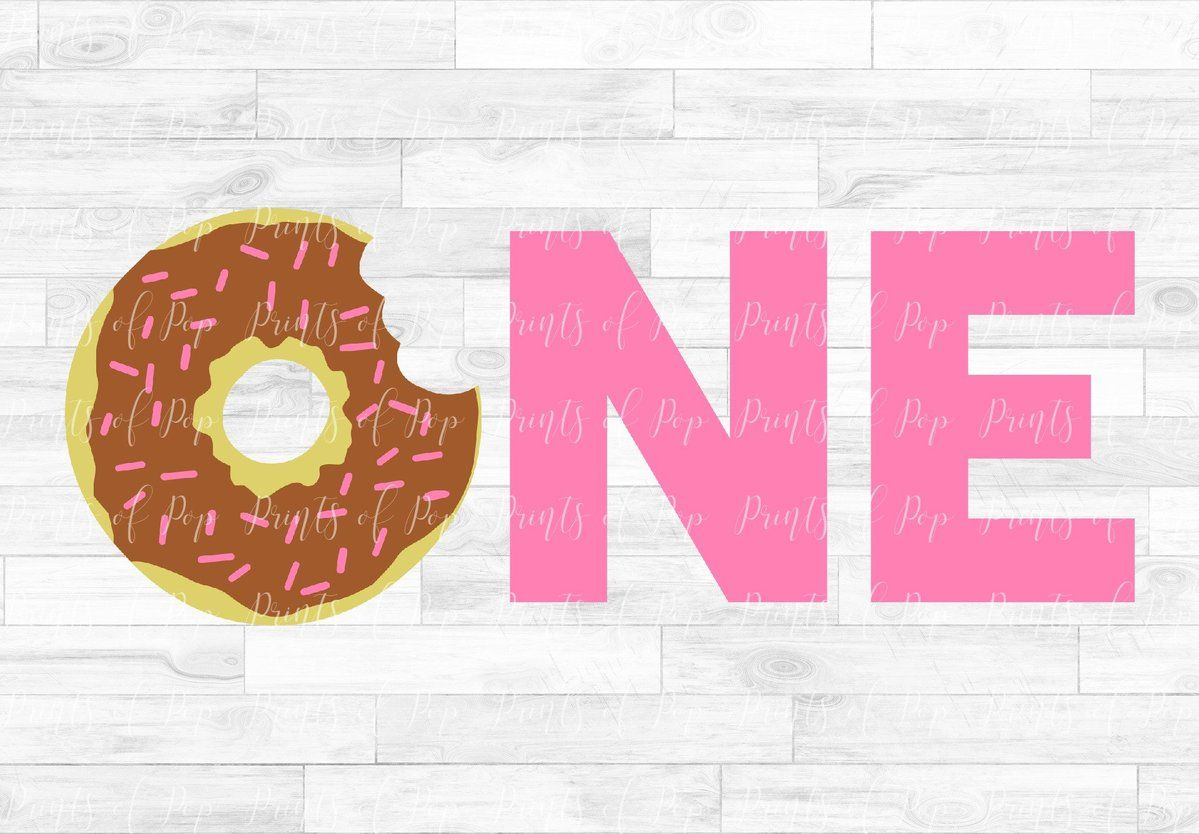 Donut One svg dxf png Lettering, Clip art, Prints