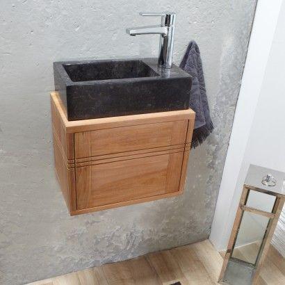 Meuble lave main suspendu en teck 38 basic meuble lave - Meuble lave main bois ...