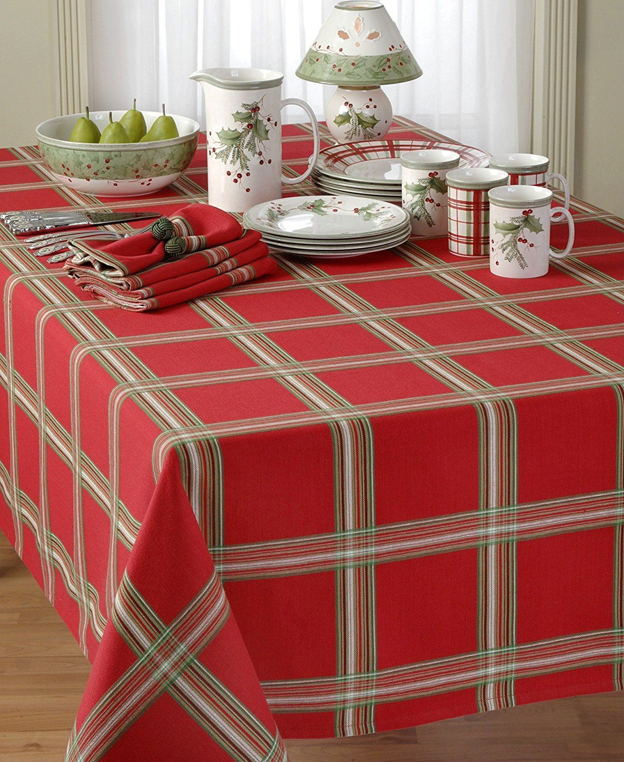 Lenox Linens Holiday Gatherings Plaid Runner Red 14 X 70 For