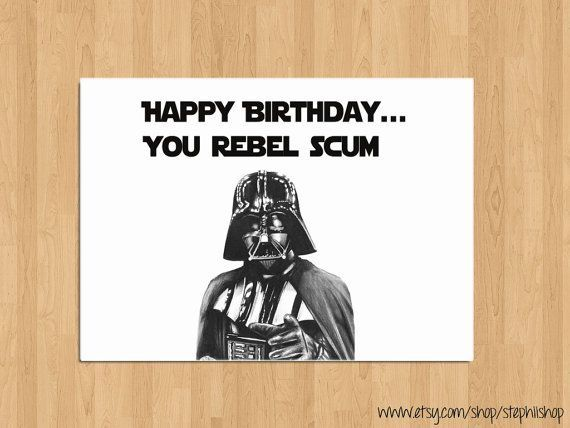 Birthday Card Funny Birthday Card Happy Birthday Card Star – Star Wars Birthday Card