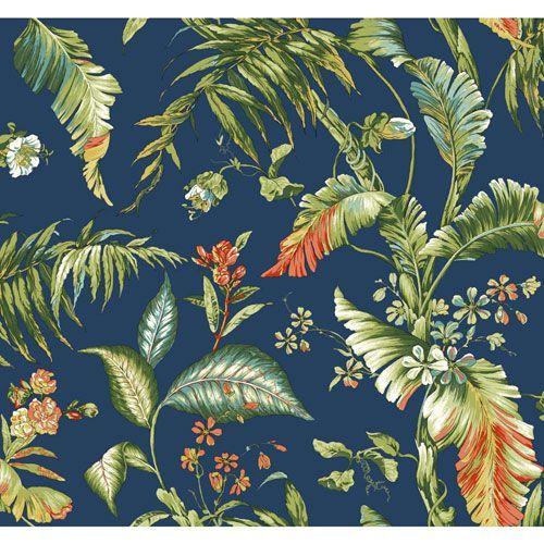 Ashford House Tropics Deep Blue And Green Fiji Garden Wallpaper York Wallcoverings Wallpap