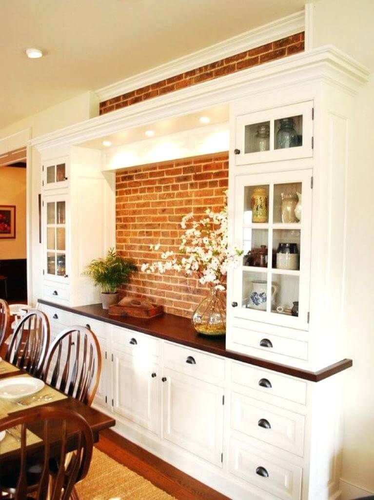 Make The Most Of Exposed Brick Dining Room Hutch