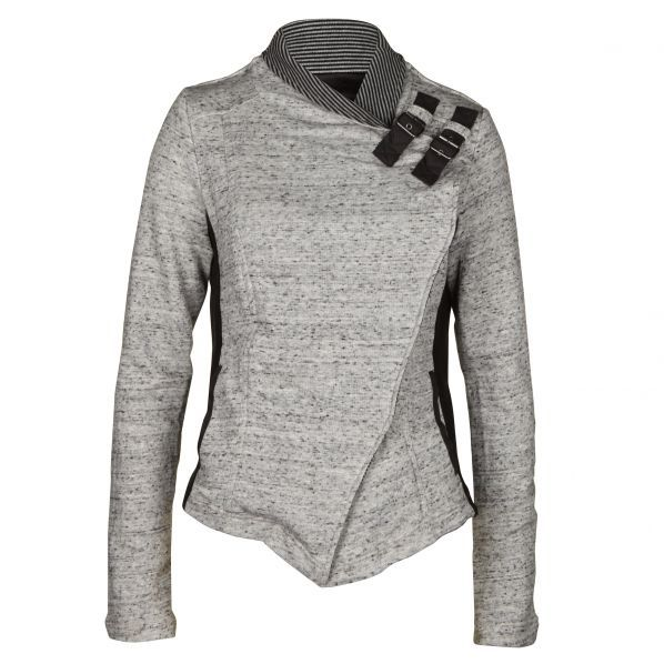 Women's Milly Buckle Detail Grey Jacket   Ref: 19545     • Grey marl pattern    • Contrast striped collar    • Asymmetric concealed button fasten    • Optional buckle fasten collar    • Contrast fitted side panels    • Two side pockets    • Partially lined    • Fitted style
