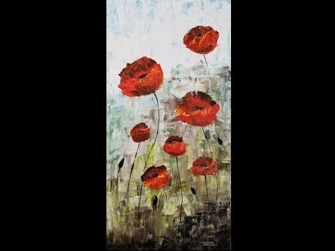 Paint Poppies Flowers With Acrylic Paints And A Palette Knife