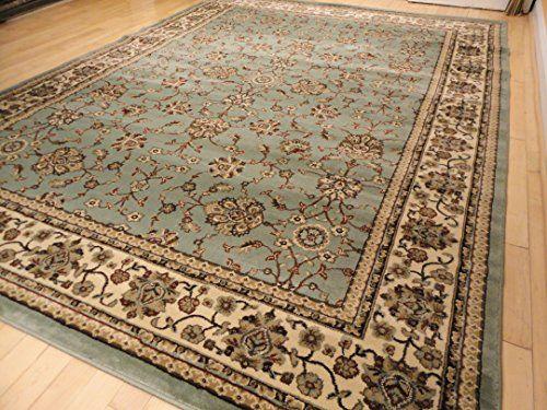 Premium Soft Persian Rugs Traditional Rug For Living Room Greenish Blue Cream Burgundy Rugs 5x7