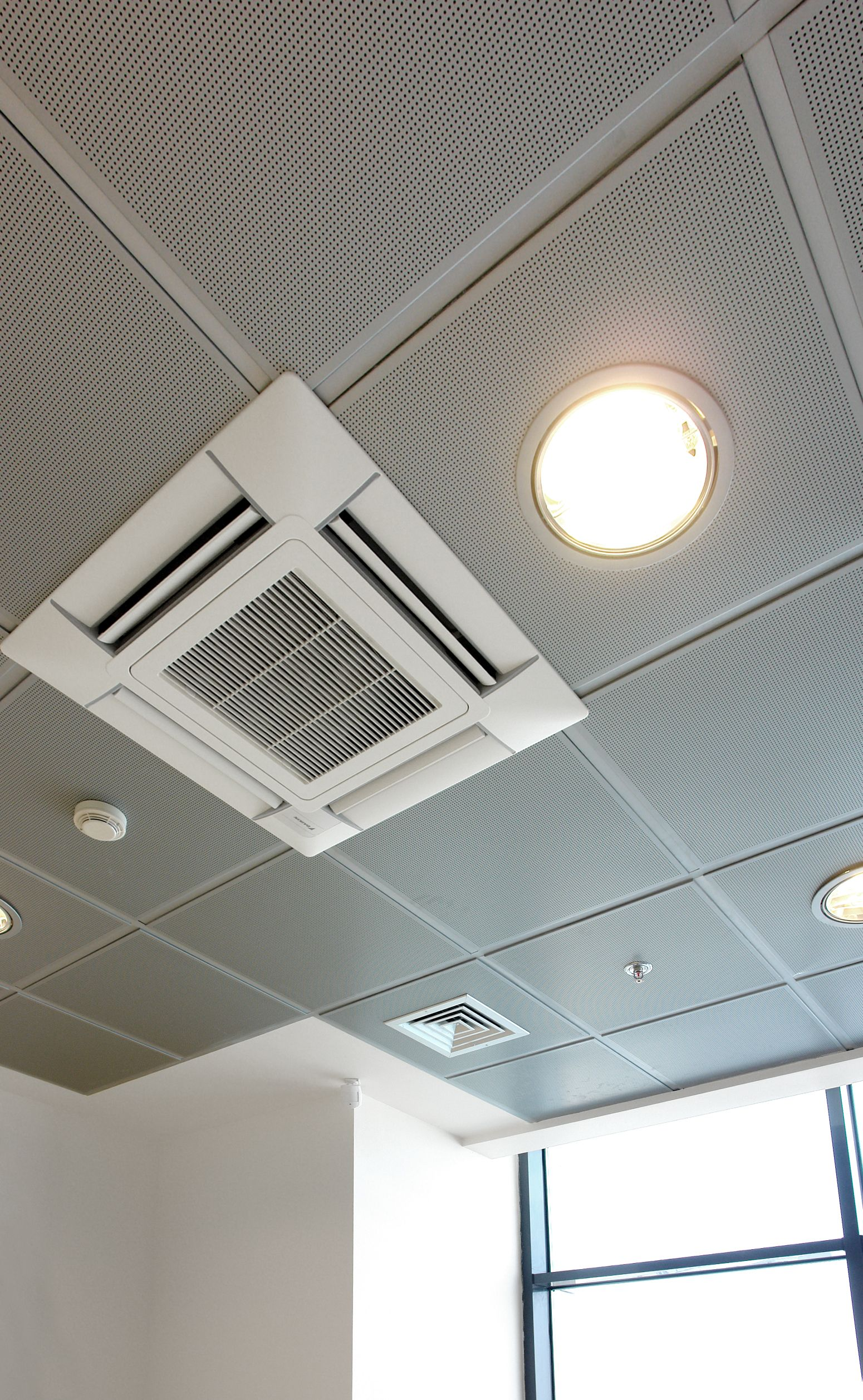 Metallic Perforated False Ceilings Air Conditioning Interior Lighting Interior