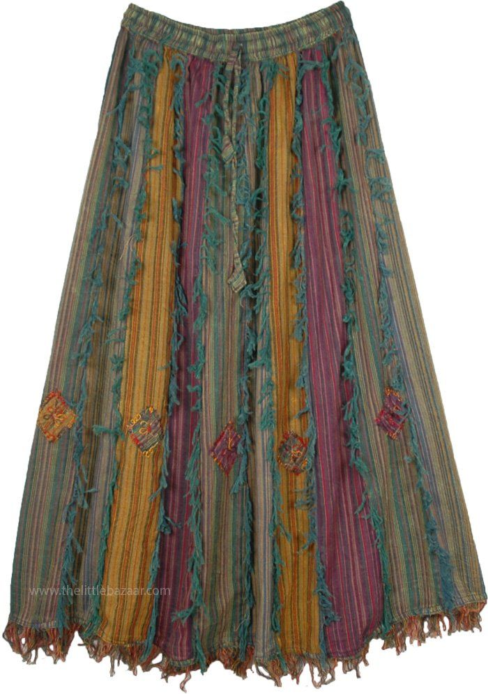 Vertical Patchwork Bohemian Gypsy Skirt with Threa
