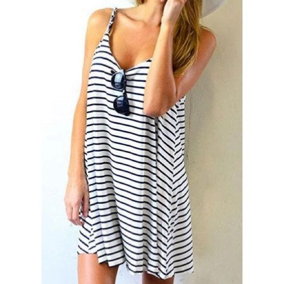 Selling this Blank and white striped dress in my Poshmark closet! My username is: roxxxxyyy. #shopmycloset #poshmark #fashion #shopping #style #forsale #Dresses