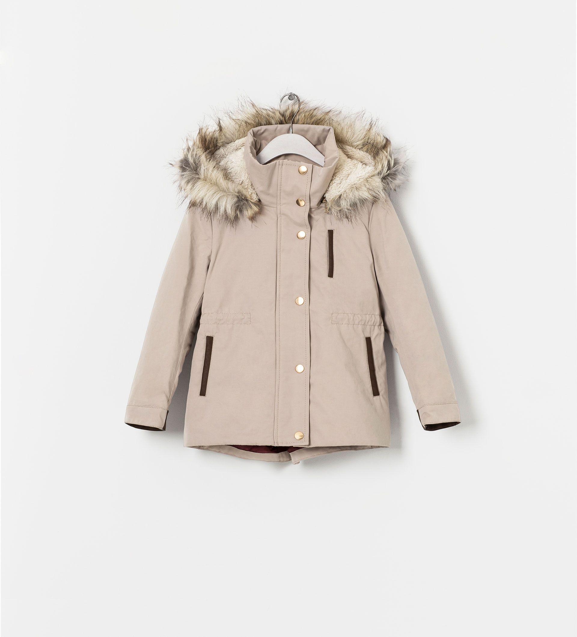Zara Girls Kurtka Parka Bezowa Z Misiem 13 14 Lat Zara Coat Coat Zara Kids