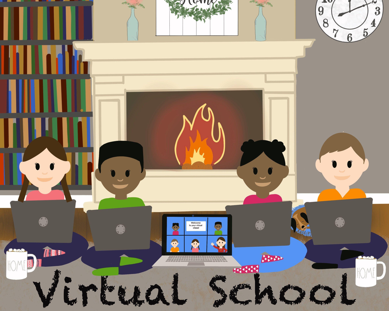 Virtual School Distance Learning Zoom Virtual Classroom Etsy Virtual School Digital Illustration Scrapbook Program