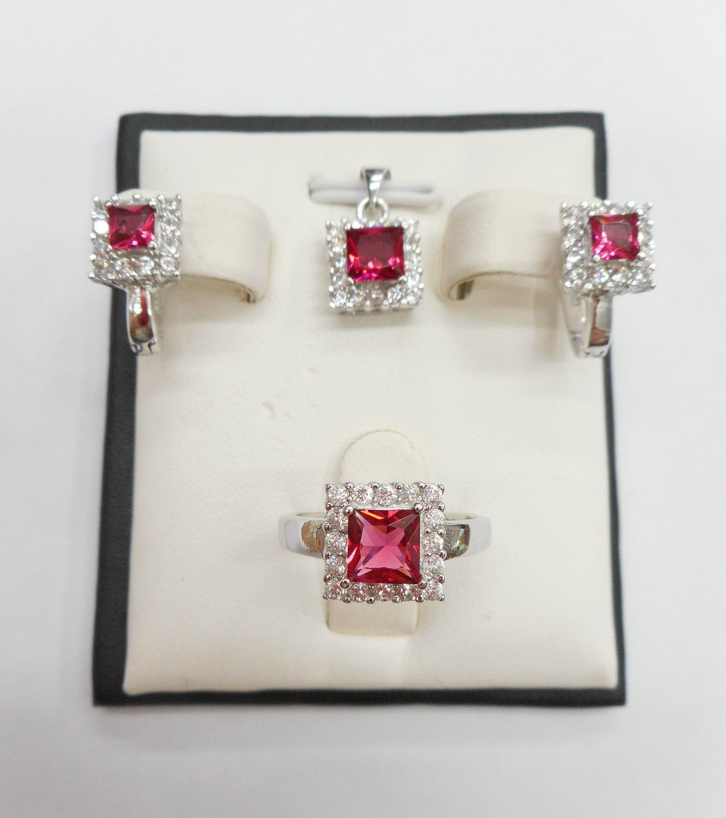 Sterling silver simulated ruby halo cubic zirconia earring pendant