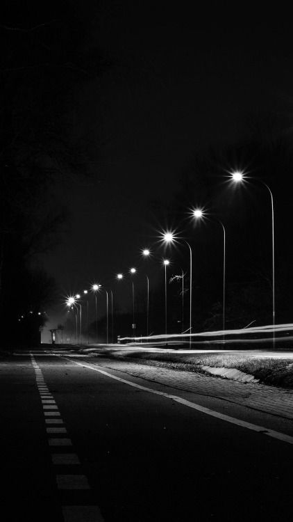Street Lights Dark Night Car City Bw 34 Iphone6 Plus Wallpaper