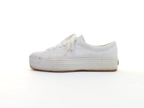 e7eec54ee7b White Leather Platform Keds Flatform Keds Sneaker 90s Normcore Club ...