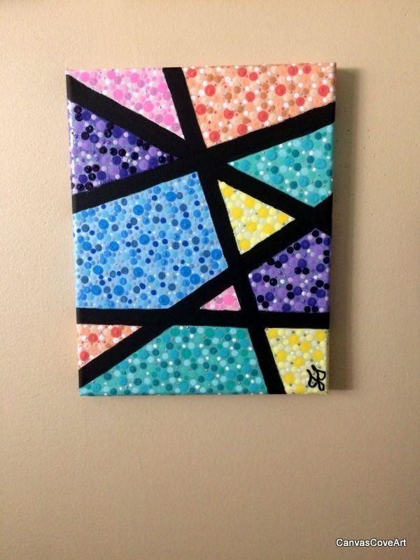 Geometric Dot Acrylic Painting 8 X 10 Canvas Art Picture