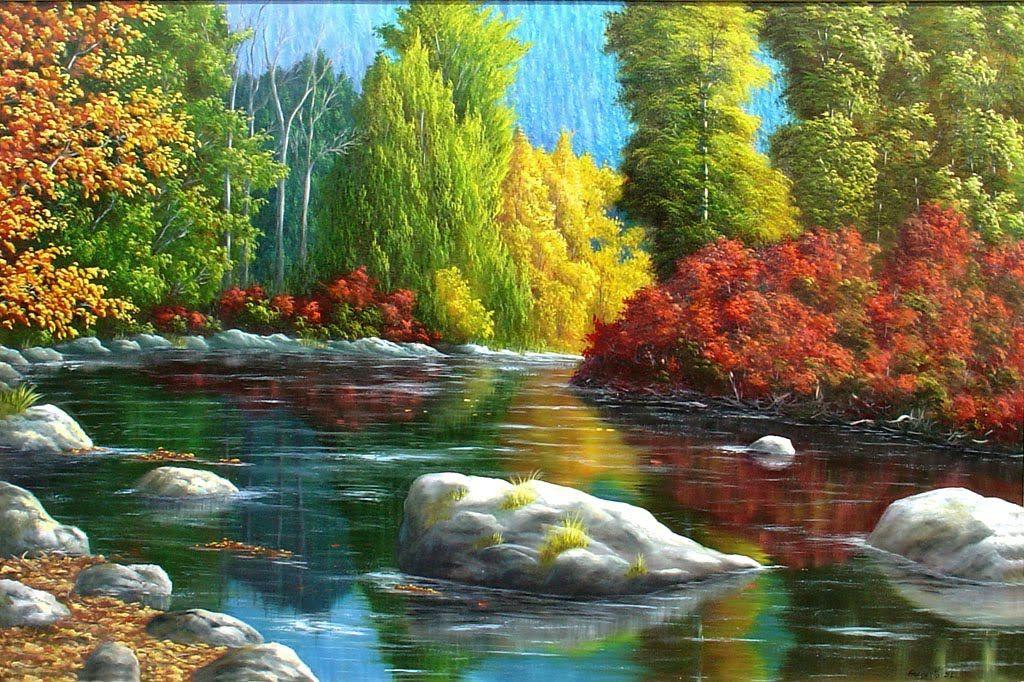 Gervasio Pintura Em Tela Paisagem Colorida Pintura Em Telas