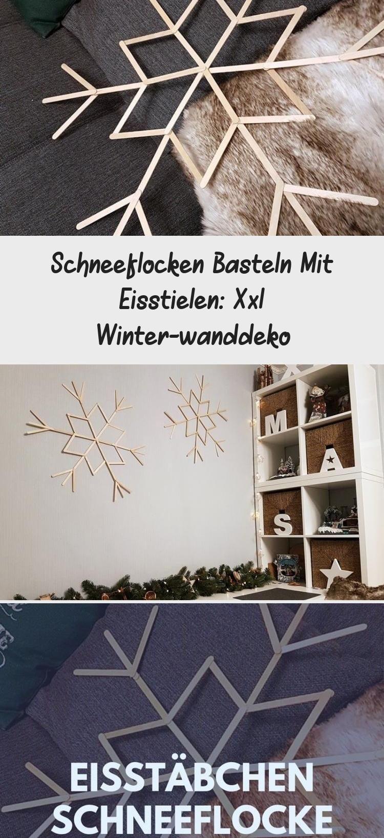 schneeflocken basteln mit eisstielen xxl winterwanddeko