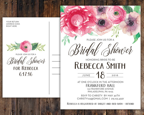 Pink peony anemone bridal shower postcards in rustic boho vintage this listing includes 425 x 55 postcard bridal shower invitations which are professionally printed on thick 130lb heavy cardstock with a filmwisefo