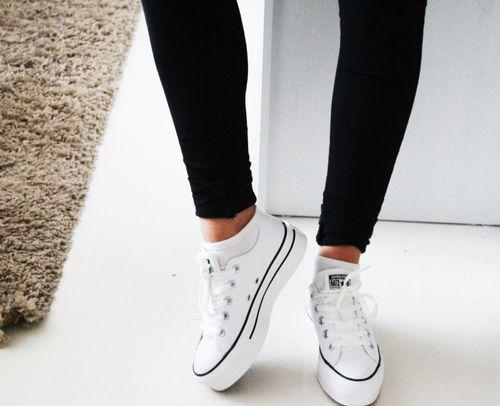 converse platform shoes white