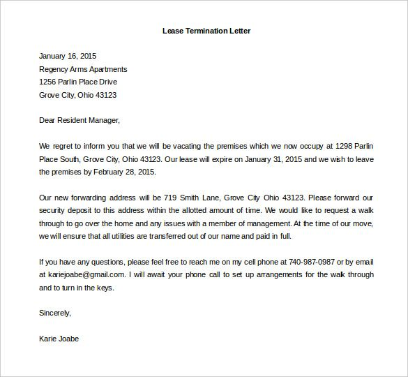sample resignation letters com the lease termination letter - termination of contract letter