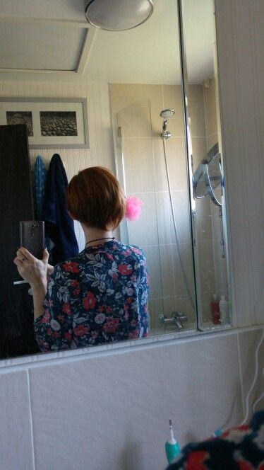 View of the back of my head ~ Not great quality but there is a sneaky shower shot!!
