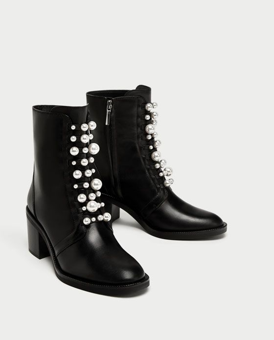 Image 3 of HIGH HEEL LEATHER ANKLE BOOTS WITH FAUX PEARLS