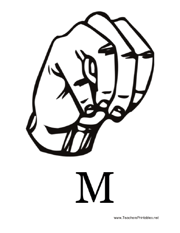 Diagram of a hand signing the letter M along with the printed
