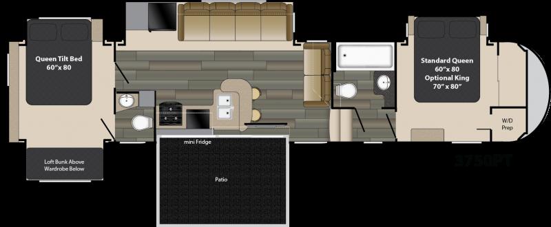 GW 3750 PT Travel trailer floor plans, Rv floor plans